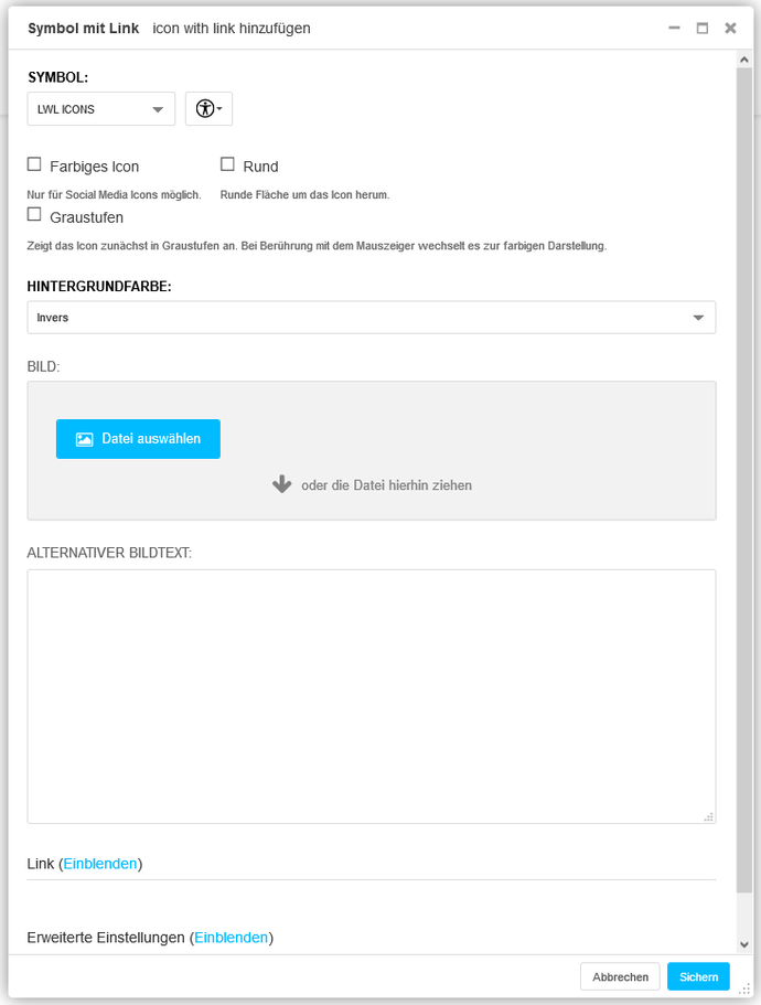 Screenshot U007 Symbol mit Link Backend